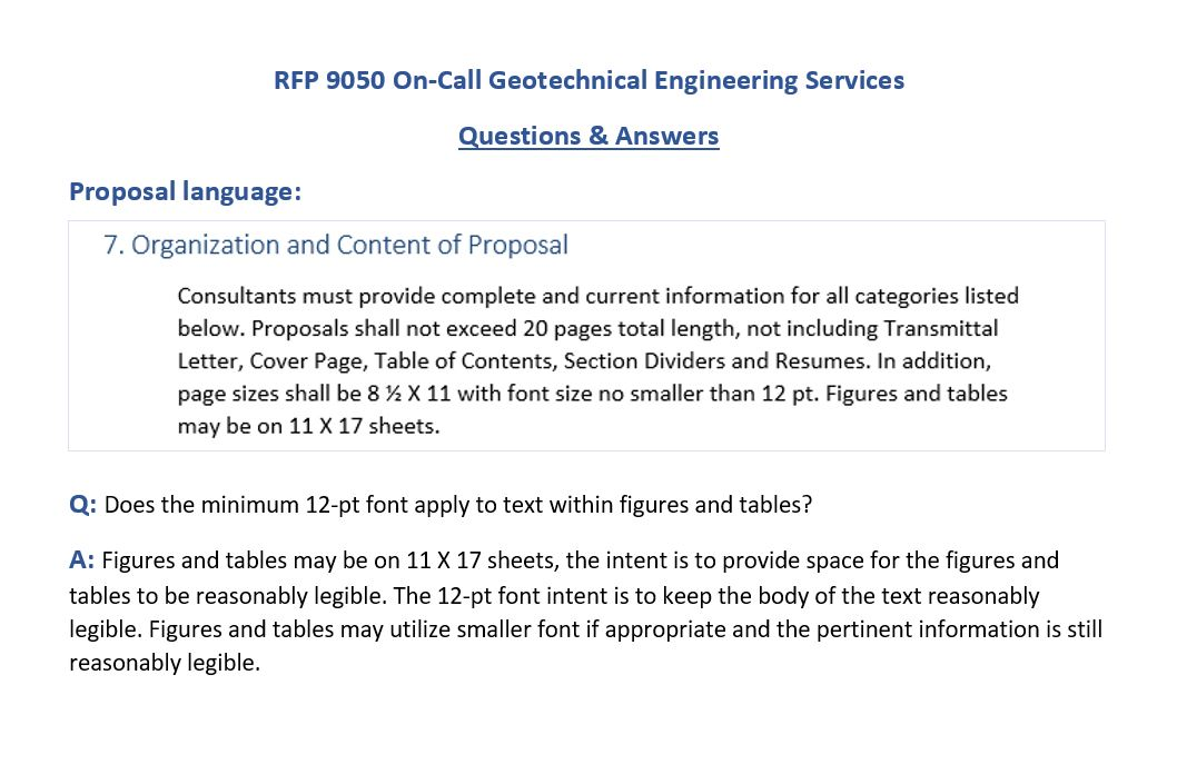 RFP #9050—On-Call Geotechnical Engineering Services - Regional San