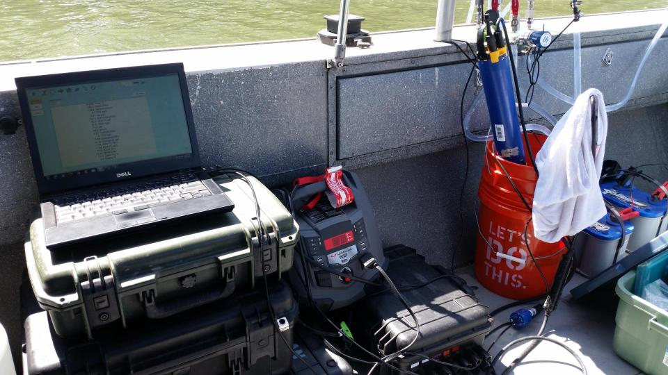 "Water quality mapping system onboard the Regional San vessel ""Guardian."" (Photo: Tim Mussen)"