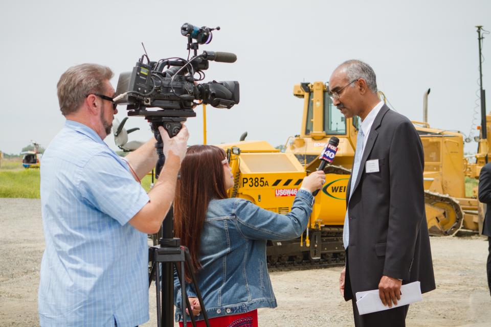 Regional San's District Engineer Prabhakar Somavarapu speaks to media