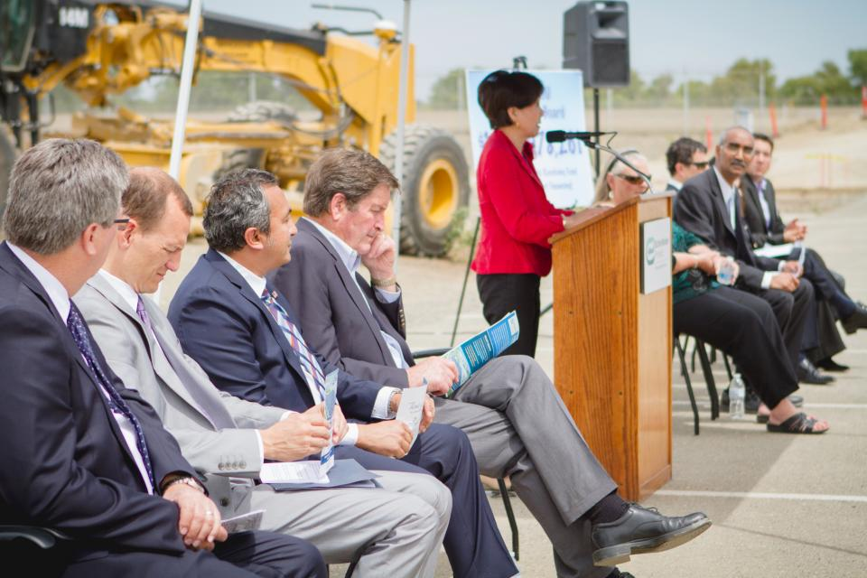 Officials listen as Congresswoman Doris Matsui speaks