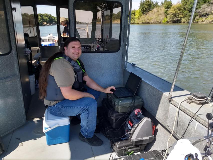 "Tim Mussen operating the high-frequency water quality mapping system onboard the Regional San vessel ""Guardian."" (Photo: Lisa Thompson)"