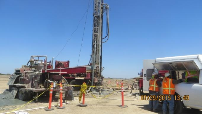Drilling of the construction water well (July 2015)