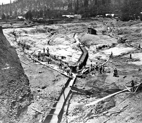 Hydraulic mine ground sluice system circa 1870s (USGS)