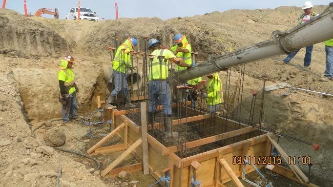 Placing concrete on foundation padsof inlet structures (September 2015)