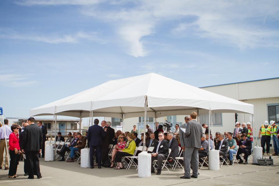 Attendees gather for the EchoWater groundbreaking ceremony at the Sacramento Regional Wastewater Treatment Plant